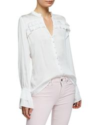 PAIGE - Anguilla Long-sleeve Blouse With Layered Ruffle Trim - Lyst