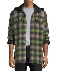offwhite co virgil abloh diagonal stripes plaid flannel hooded shirt