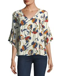 Casual Couture - Bell-sleeve V-neck Floral-print Blouse - Lyst