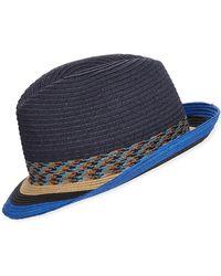 ca52df9540e Paul Smith - Men s Striped-brim Straw Fedora Hat - Lyst