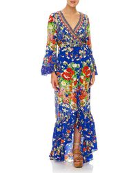 Camilla - Playing Koi Bell-sleeve Printed Wrap Maxi Dress - Lyst