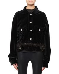 Tom Ford - Jean-style Velvet Jacket W/ Detachable Feather Trim & Crystal Buttons - Lyst
