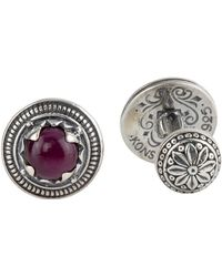 Konstantino - Round Sterling Silver Cuff Links With Ruby Root - Lyst