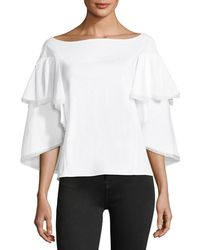 Zac Posen - Bateau-neck Tiered Cape Bell-sleeve Cotton Blouse - Lyst