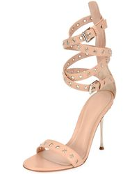 b3a7948d97b225 Lyst - Gianvito Rossi Snake Ankle-wrap 105mm Sandal in Black