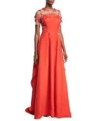 Pamella Roland - Silk Faille Evening Gown With Floral-embroidery - Lyst
