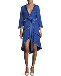 Alexis - Hallie Wrap-front Cotton Dress With Pleating Detail - Lyst