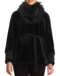 Gorski - Sheared Mink Jacket With Fox-fur Collar And Suede Belt - Lyst
