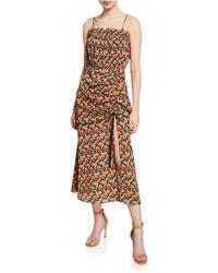 57d3ad1c7a19a Elliatt - Regal Floral-print Shirred Sleeveless Dress With Slit - Lyst