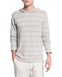 John Varvatos - Textured Stripe Long-sleeve Hooded Sweater - Lyst