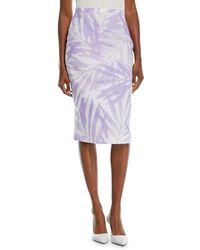 Michael Kors - Floral Stretch-cady Linen Pencil Skirt - Lyst