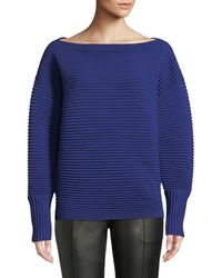 Victoria, Victoria Beckham - Boat-neck Full-sleeve Horizontal Ribbed Wool Sweater - Lyst