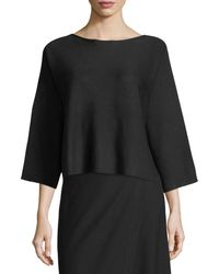 Eileen Fisher   Wool Bateau-neck Top   Lyst