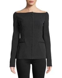 Theory - Off-the-shoulder Pinstripe Jacket - Lyst