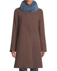 Fleurette - Long Alpaca & Wool-blend Coat W/ Fur Collar - Lyst