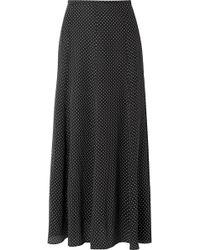 Max Mara - Polka-dot Silk Crepe De Chine Midi Skirt - Lyst