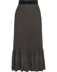 Sonia Rykiel - Metallic Striped Cotton-blend Midi Skirt - Lyst
