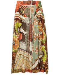 Chloé - Printed Silk-satin Wrap-effect Skirt - Lyst