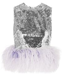 16Arlington - Feather-trimmed Sequined Tulle Top - Lyst