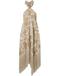 Cult Gaia - Ali Fringed Embroidered Fil Coupé Canvas Halterneck Maxi Dress - Lyst