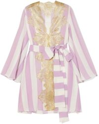 Rosamosario - Wallah, Let's Stripes Lace-trimmed Silk Pajama Jacket - Lyst