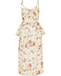 Brock Collection - Dailey Floral-print Cotton-voile Peplum Dress - Lyst