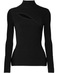 Mugler - Cutout Ribbed-knit Turtleneck Jumper - Lyst