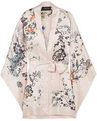Meng - Floral-print Silk-satin Kimono - Lyst