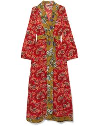 Anjuna - Selene Bead-embellished Printed Silk Crepe De Chine Robe - Lyst