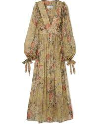 Zimmermann - Melody Floral-print Silk-crepon Maxi Dress - Lyst