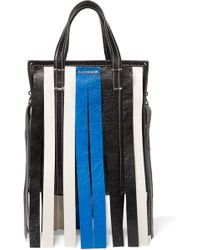 Balenciaga - Bazar Xs Fringed Striped Textured-leather Tote - Lyst