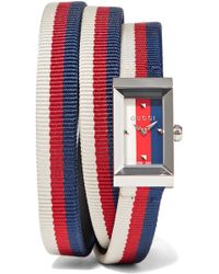 Gucci - Striped Canvas, Leather And Silver-tone Watch - Lyst
