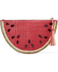 Kayu - Frutta Embellished Straw Pouch - Lyst