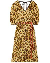 Marc Jacobs - Belted Leopard-print Taffeta Dress - Lyst