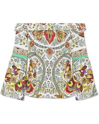 Etro - Off-the-shoulder Printed Silk Blouse - Lyst