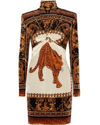 Versace - Printed Velvet Turtleneck Mini Dress - Lyst