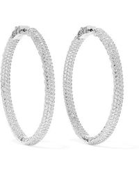Kenneth Jay Lane - Rhodium-plated Crystal Hoop Earrings - Lyst