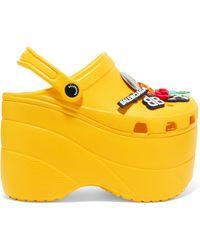 Balenciaga - Crocs Embellished Rubber Platform Sandals - Lyst