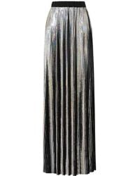 Balmain - Plissierter Maxirock Aus Metallic-georgette - Lyst