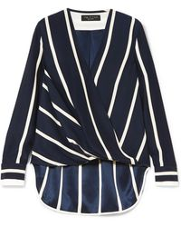 Rag & Bone - Victor Wrap-effect Striped Silk Crepe De Chine Blouse - Lyst