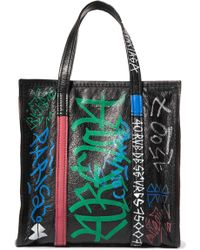 Balenciaga - Bazar Small Printed Textured-leather Tote - Lyst