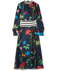 MSGM - Ribbed Knit-trimmed Floral-print Crepe De Chine Maxi Dress - Lyst