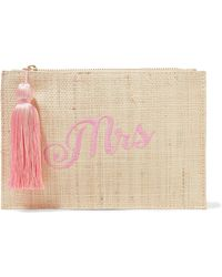 Kayu - Mrs Embroidered Woven Straw Pouch - Lyst