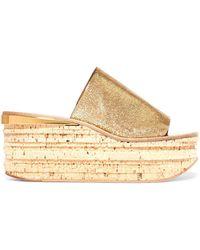 Chloé - Camille Metallic Cracked-leather Platform Sandals - Lyst