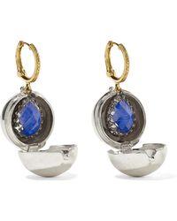 Larkspur & Hawk - Lady Jane Small 14-karat Gold, Sterling Silver And Rhodium-dipped Quartz Earrings - Lyst