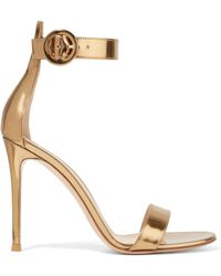 Gianvito Rossi - Portofino 105 Metallic Leather Sandals - Lyst