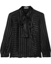 Alice + Olivia - Willis Pussy-bow Striped Jacquard Blouse - Lyst