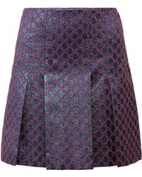 Gucci - Pleated Metallic Jacquard Mini Skirt - Lyst