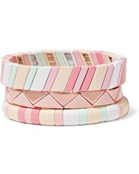 Roxanne Assoulin Bahamas Set Of Three Enamel Bracelets - Pink