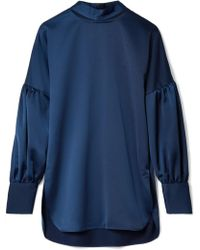 By Malene Birger - Allica Cutout Washed-satin Blouse - Lyst